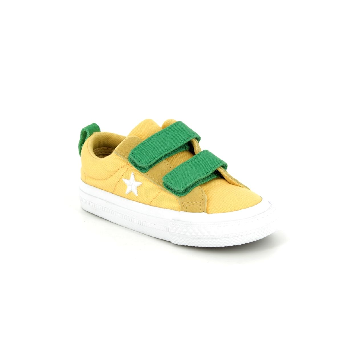 4a7c6773659d Converse One Star Ox 2V 760764C Yellow Green Combi Velro Kids Trainers