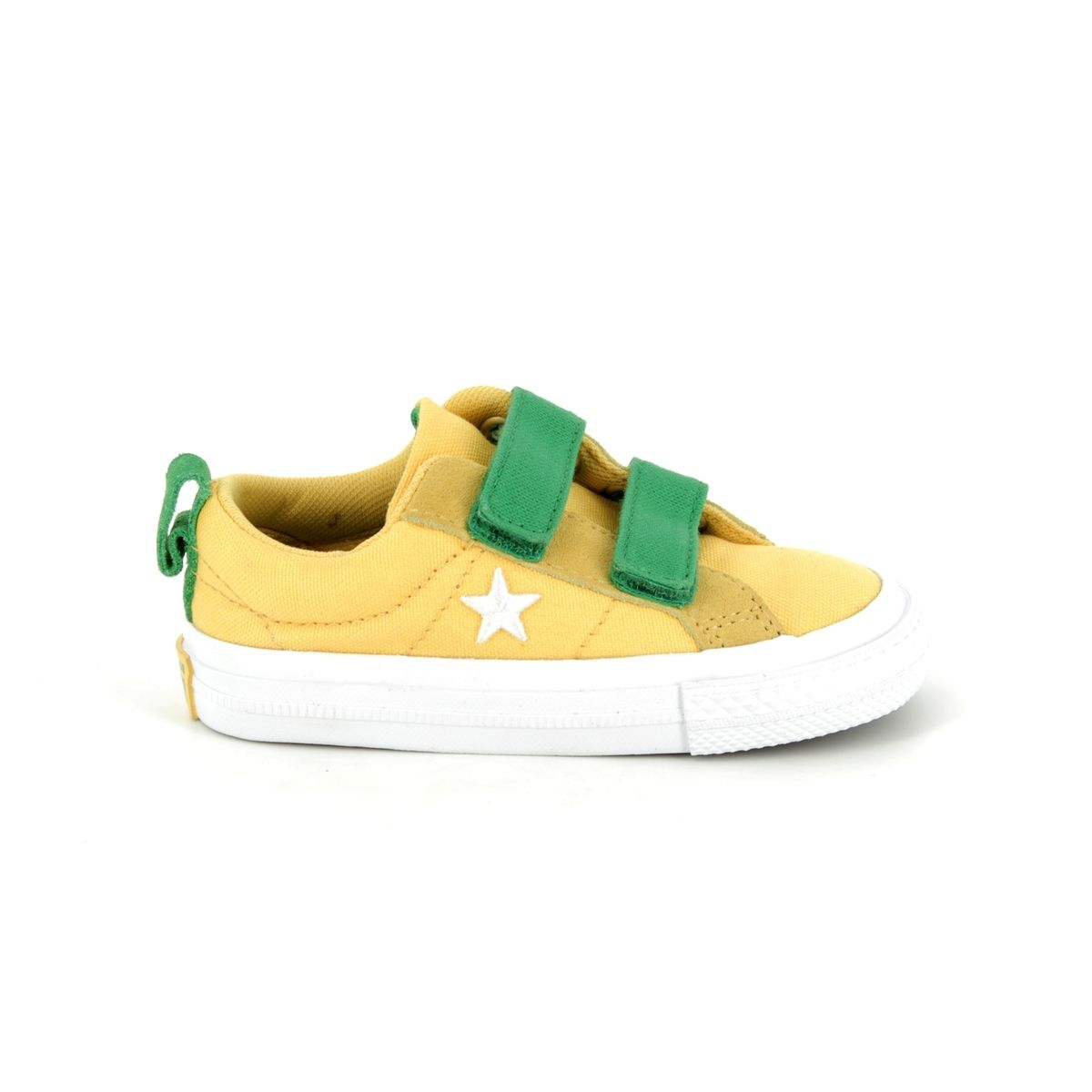Converse One Star Ox 2V 760764C Yellow Green Combi Velro Kids Trainers ca0a2a96224c
