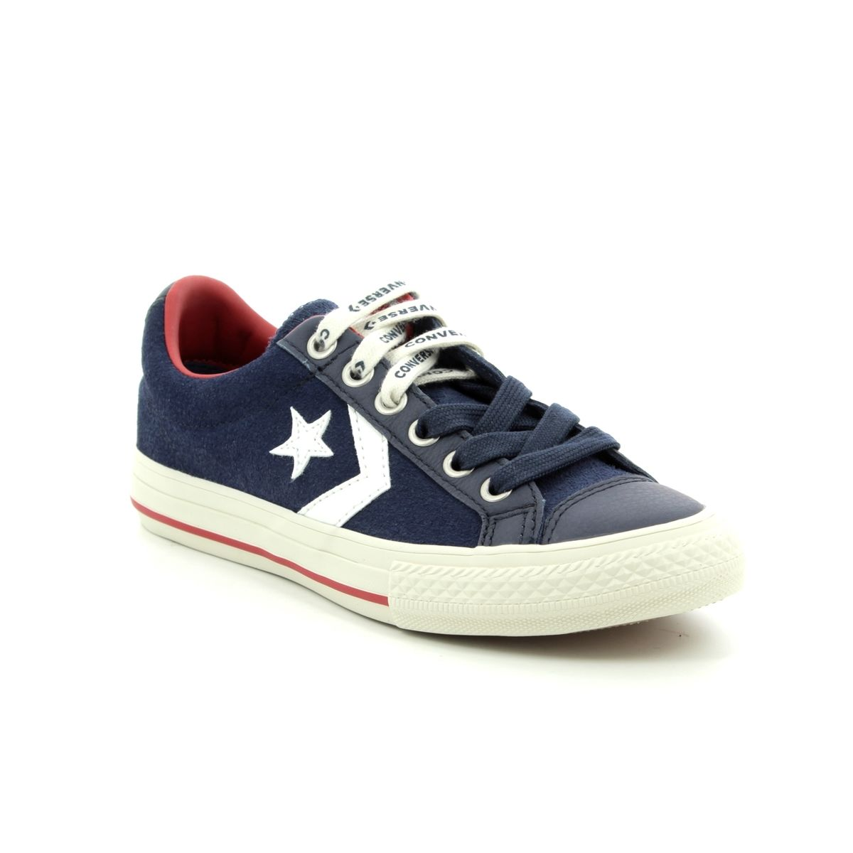 3c51013d2fe340 Converse Star Player Junior 662766C-70 Navy Suede Boys Trainers