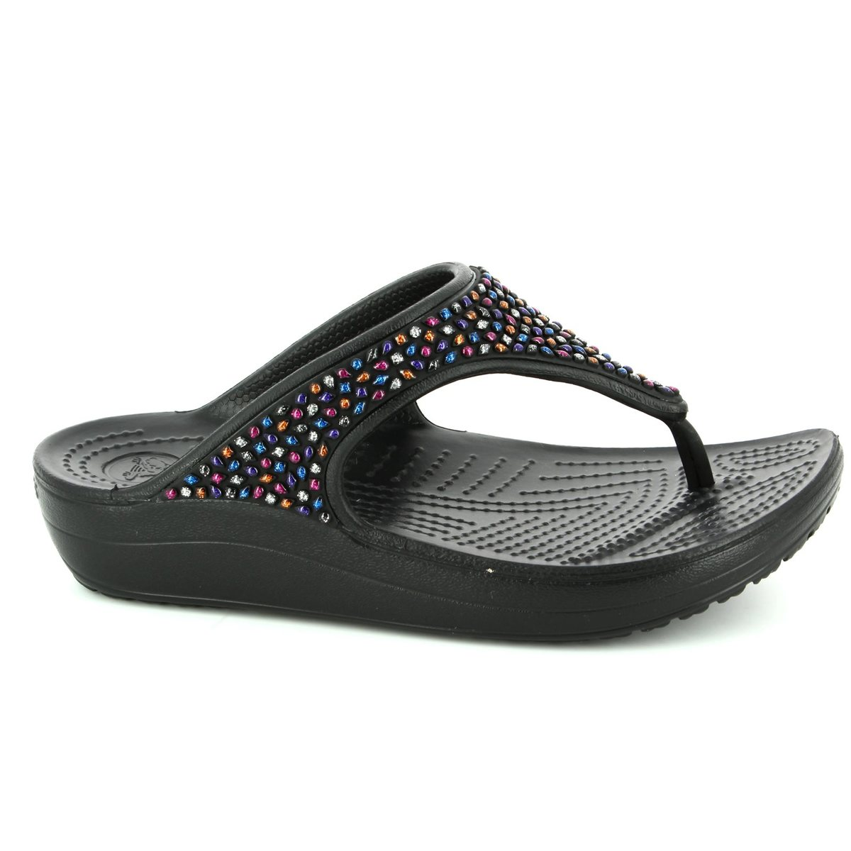 3c40df6cfe Crocs Sandals - Black multi - 204181 0C4 SLOANE FLIP