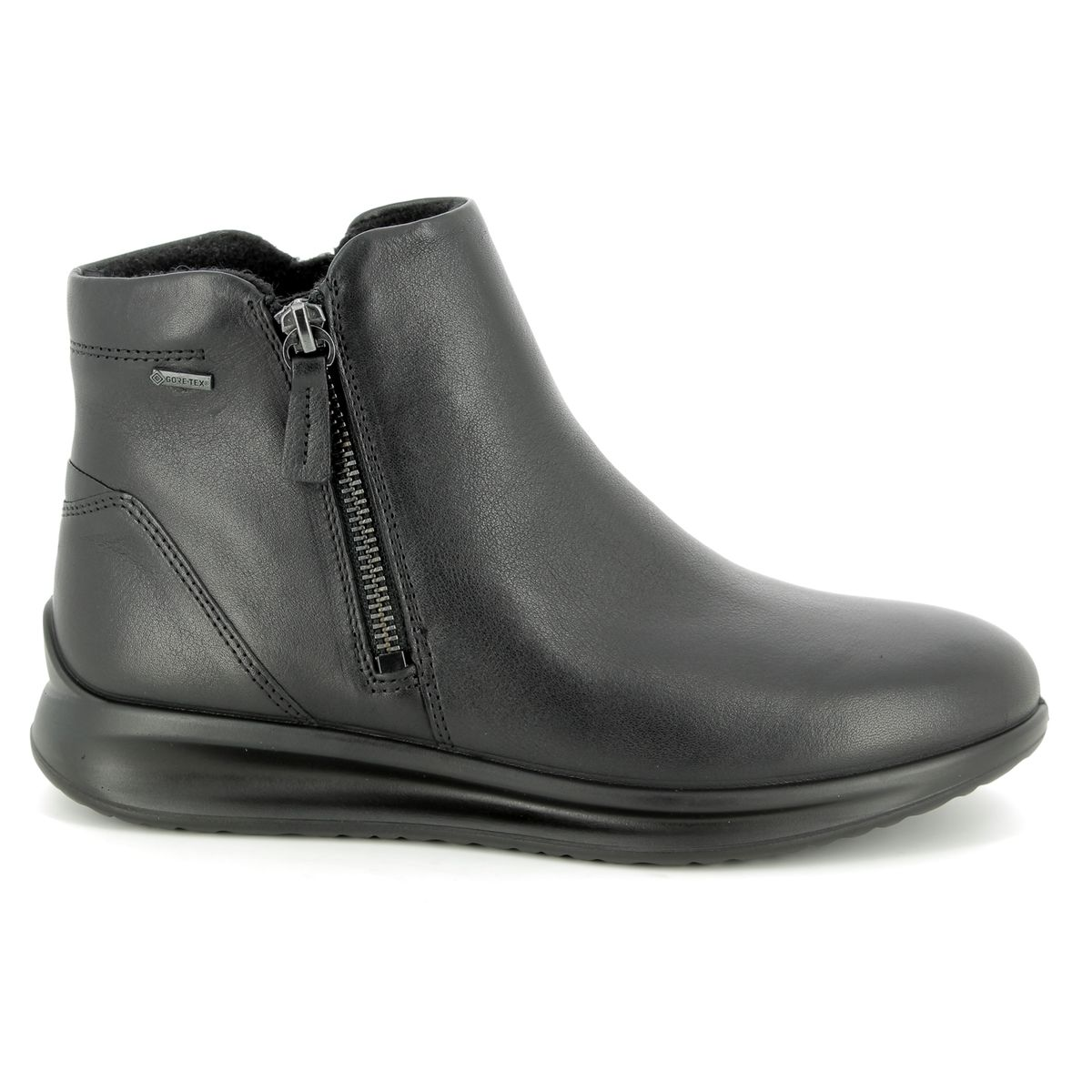 9d4308b2 ECCO Ankle Boots - Black leather - 207083/01001 AQUET ZIP GORE-TEX