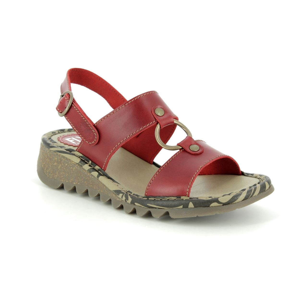 bb96515289f94 Fly London Wedge Sandals - Red leather - P500950 TACO