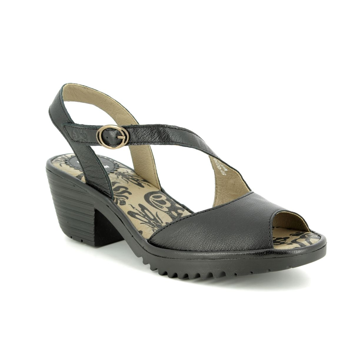 fdee565a992 Fly London Wyno P501023-000 Black leather Wedge Sandals