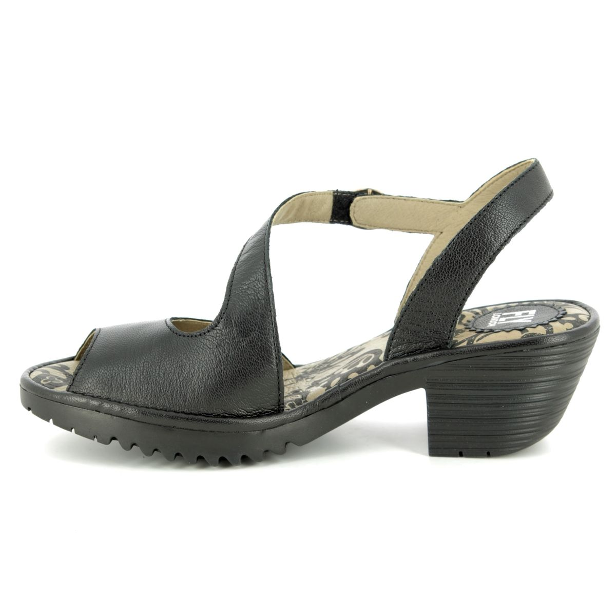 Fly London Wyno P501023 000 Black Leather Wedge Sandals