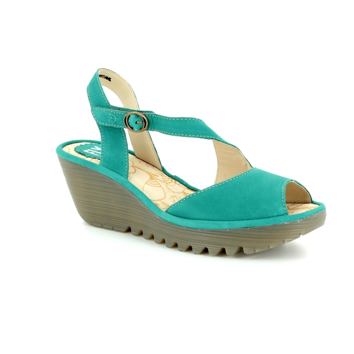 582c8a98786387 Fly London Yamp 836 P500836-004 Turquoise Wedge Sandals
