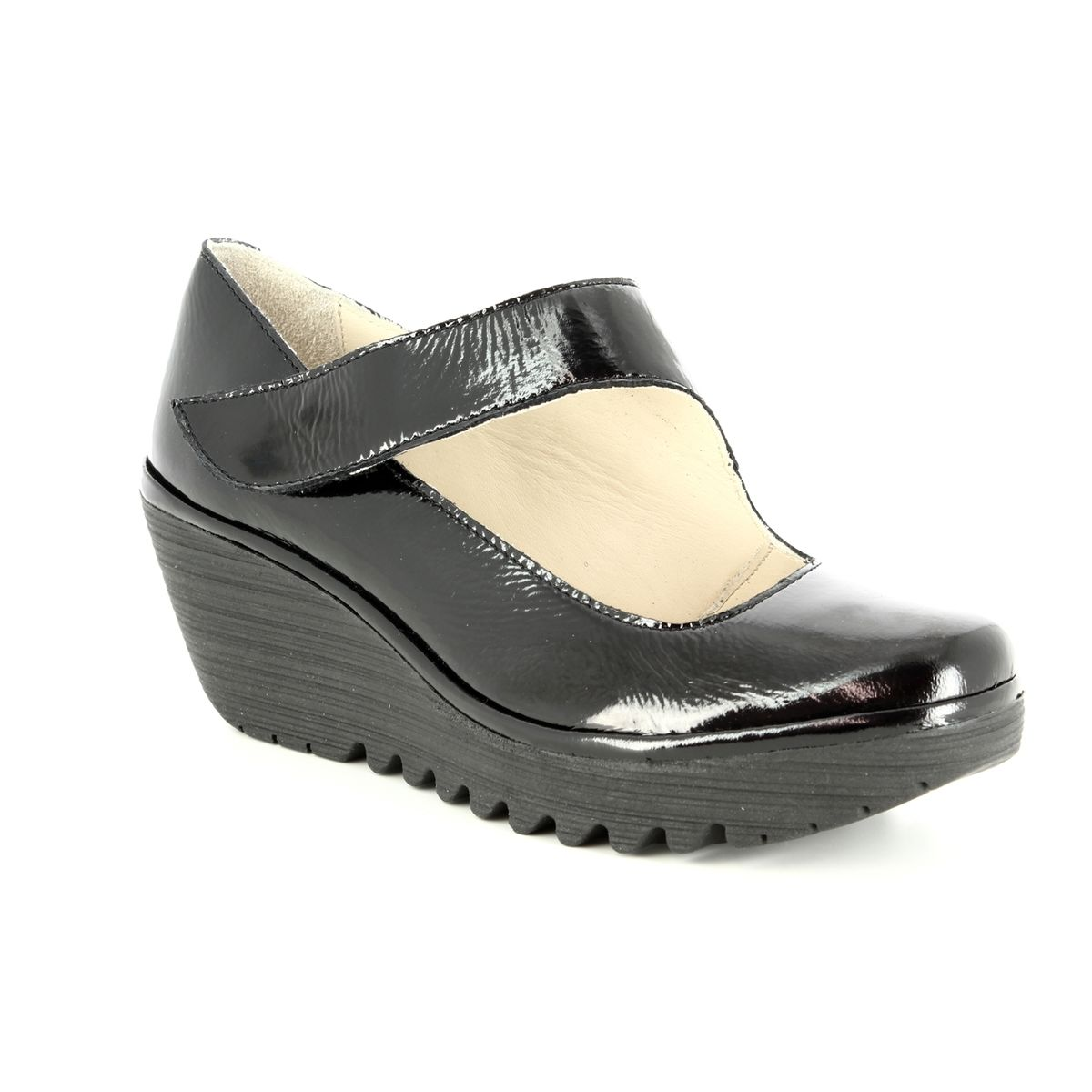 fb2e14d846b Fly london yasi black patent wedge shoes jpg 1200x1200 Fly wedge shoes