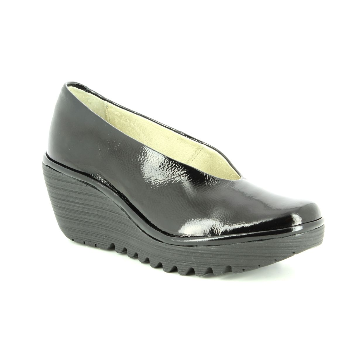 Fly Yaz London Shoes Patent 207 Wedge P500025 Black 5rW5w0xn8p