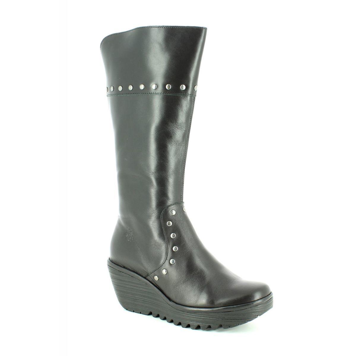cf460feb Fly London Knee-high Boots - Black leather - P500903 YOTA