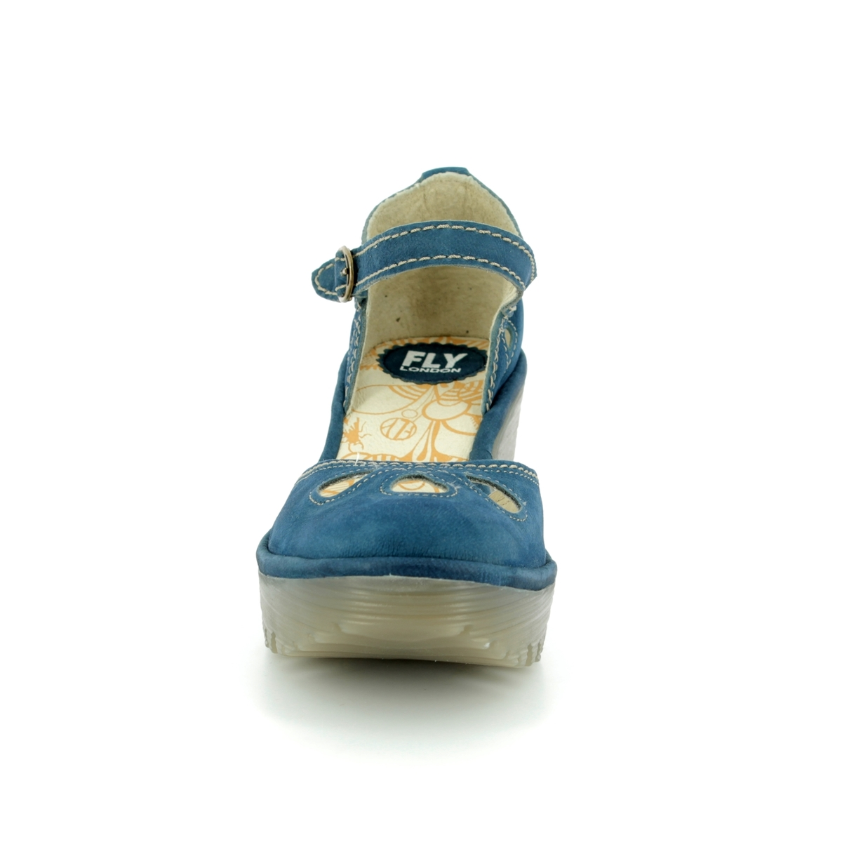 c1fd7c36349 Fly London Yuna P500016-118 Blue Wedge Shoes