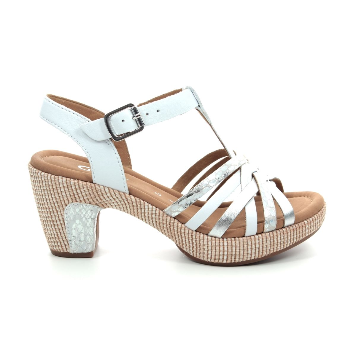 4d1c105d124a83 Gabor Heeled Sandals - White-silver - 22.736.51 CHERI