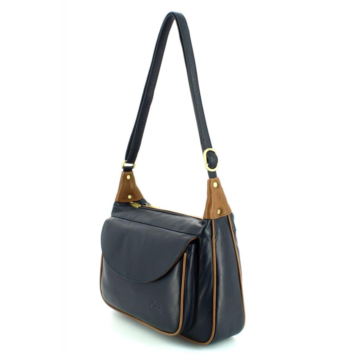 Gigi Bags Othtt22 17 2217-71 Navy tan handbag 521c2c050256b
