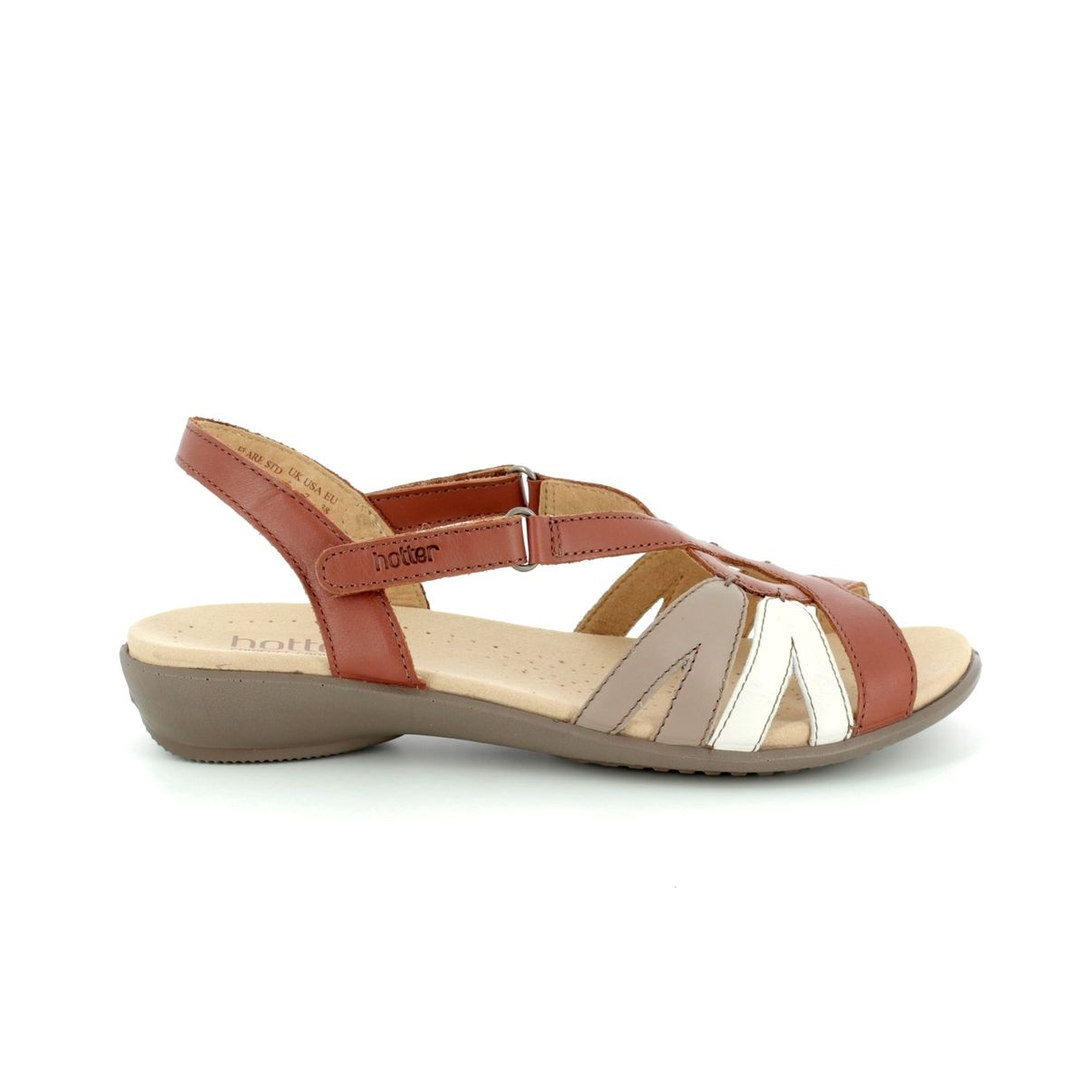 Hotter Sandals Tan Multi 8107 11 Flare E Fit