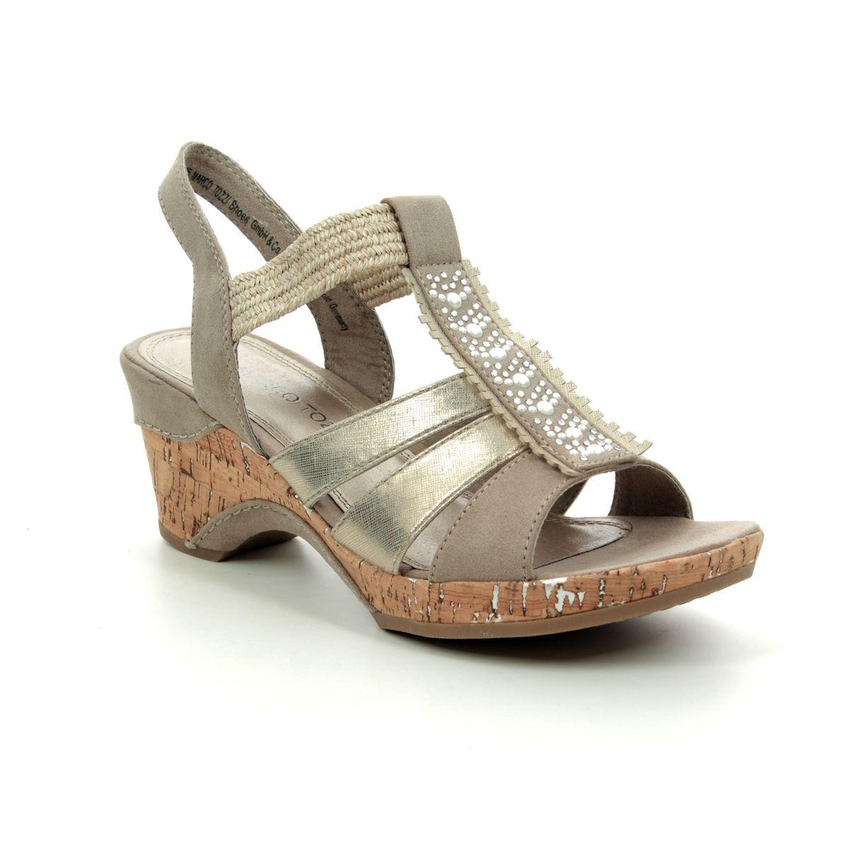 17e4c0d9836 Marco Tozzi Wedge Sandals - Taupe multi - 28305 22 344 LOZIO