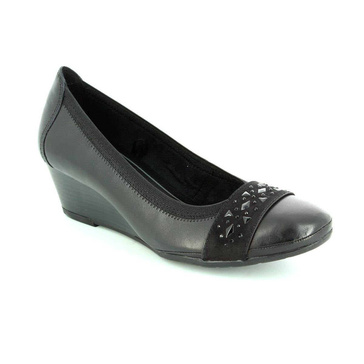 marco tozzi rancasta 22303 096 black wedge shoes. Black Bedroom Furniture Sets. Home Design Ideas