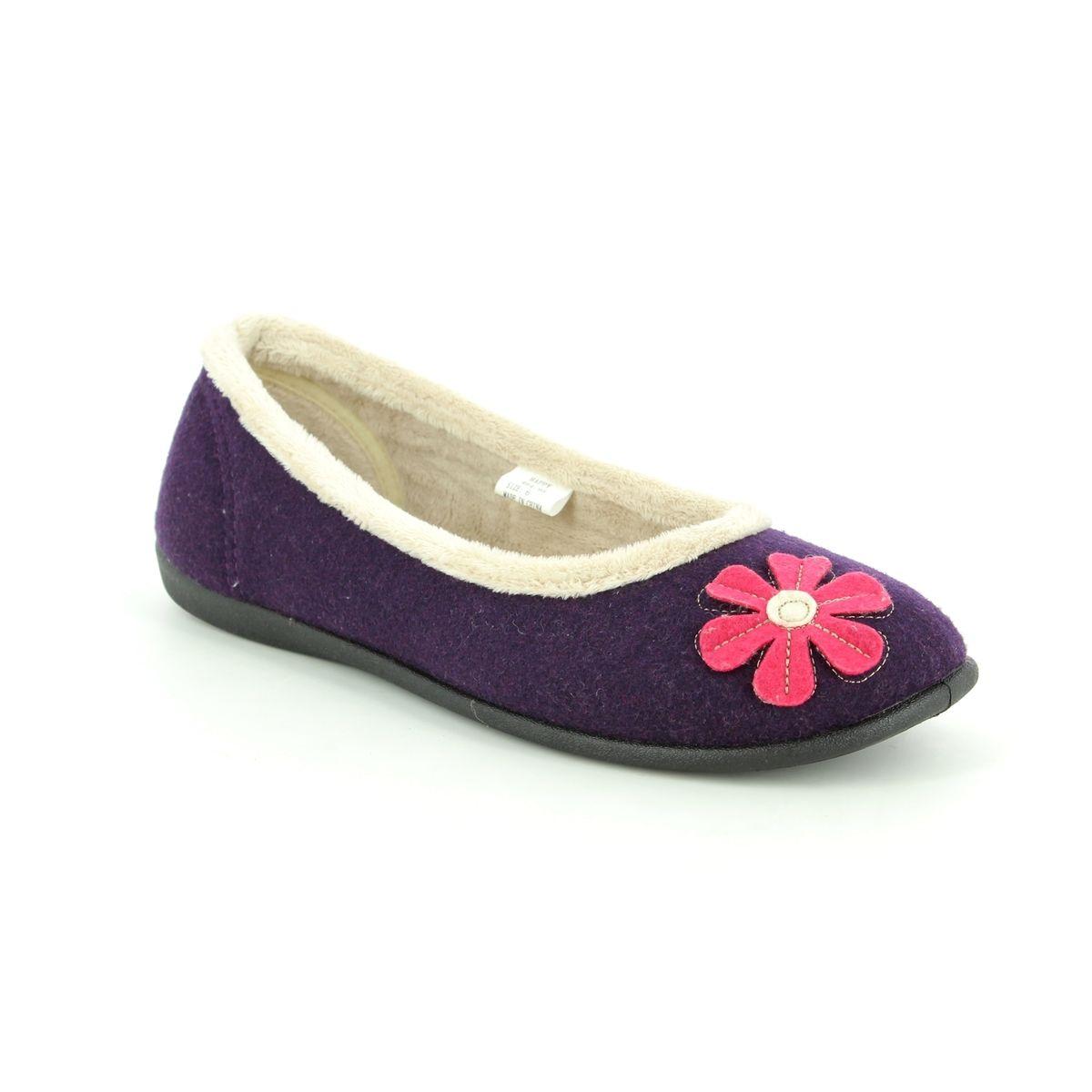 Padders HAPPY Ladies Womens Felt Wide Ballerina Pump Slippers Purple E Fit