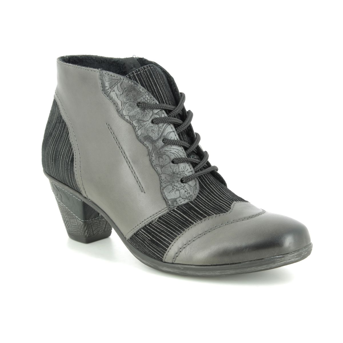 D8789-40 Black Multi Leather Lace Up Boots