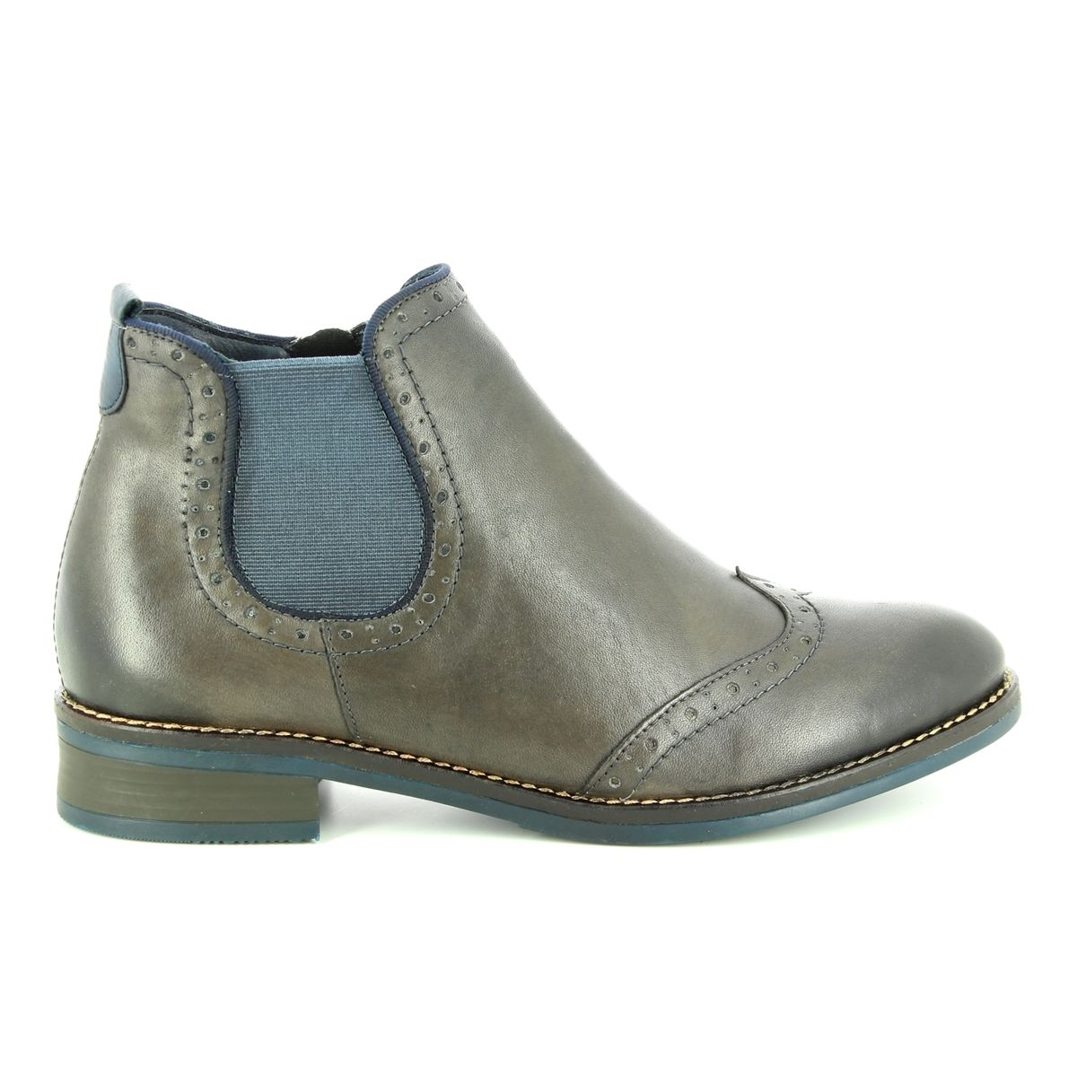 Remonte Brogue 85 D8581-45 Grey matt leather Chelsea Boots ae8a2cfd4