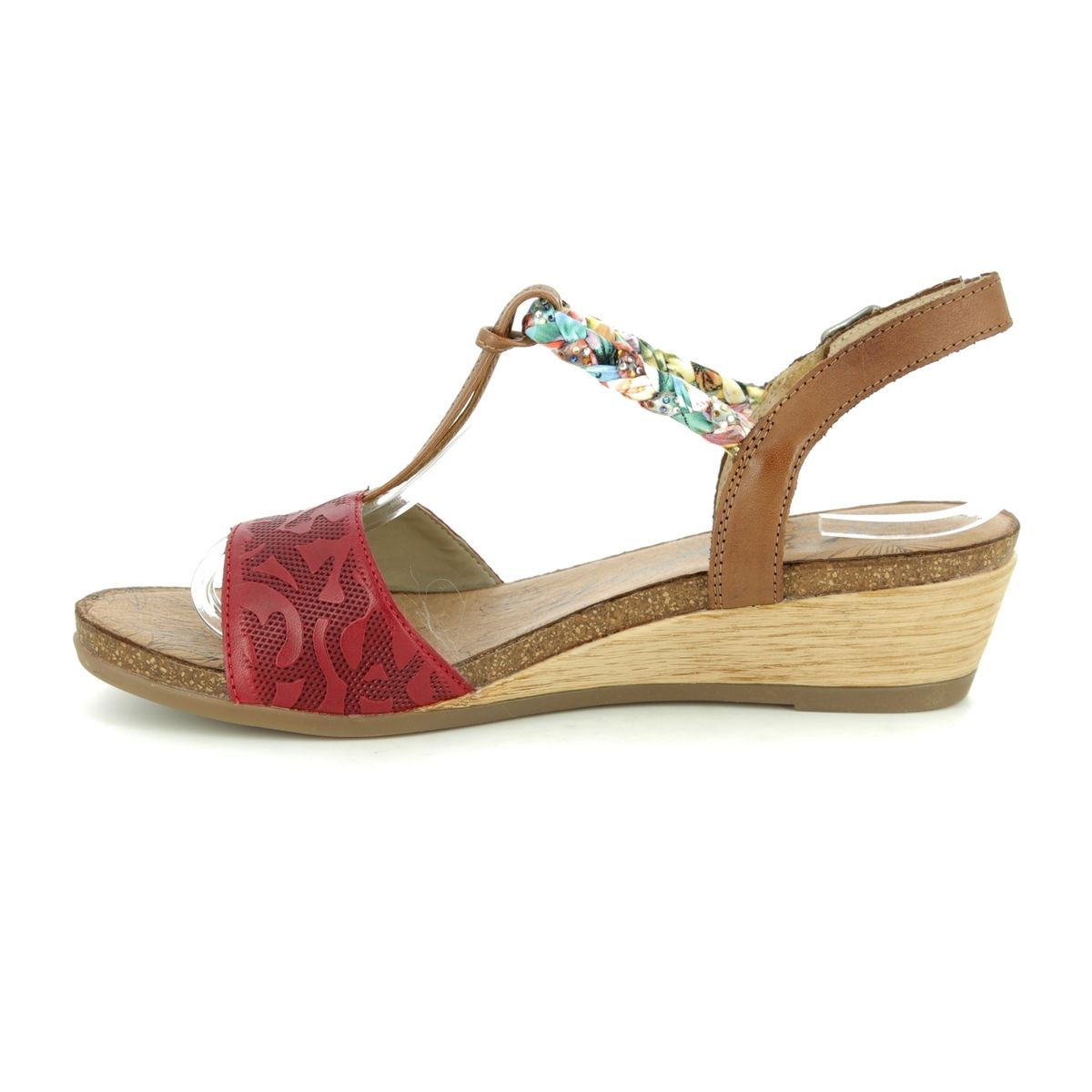 33 Red Remonte leather Wedge Sandals R4459 Emily nw80OPk