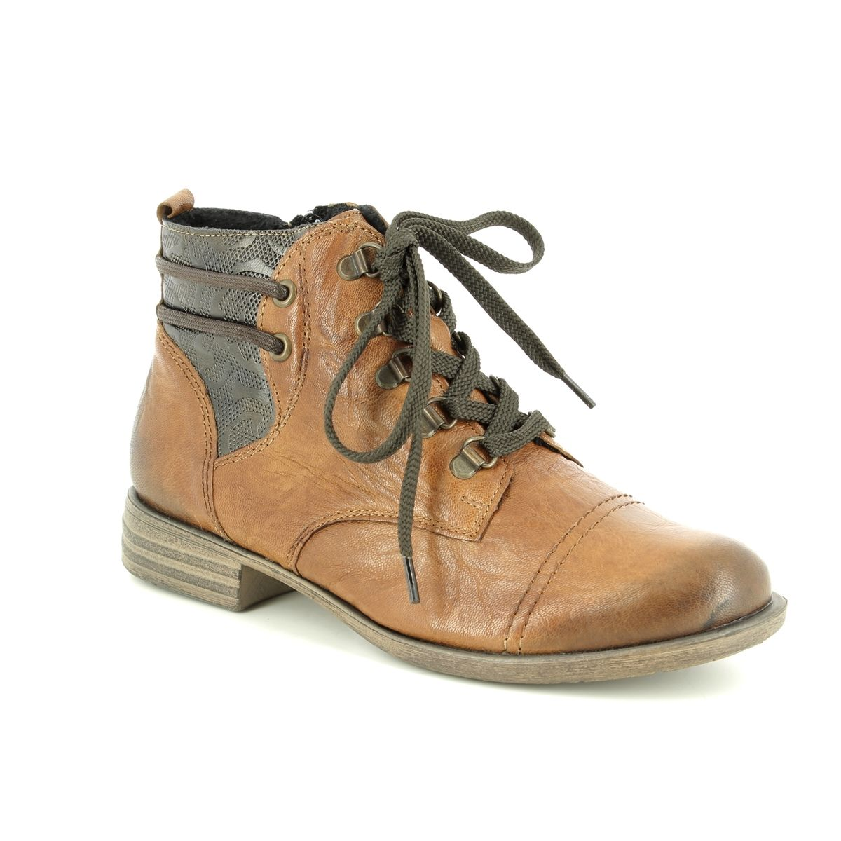 D4977-22 Tan Leather fashion ankle boots