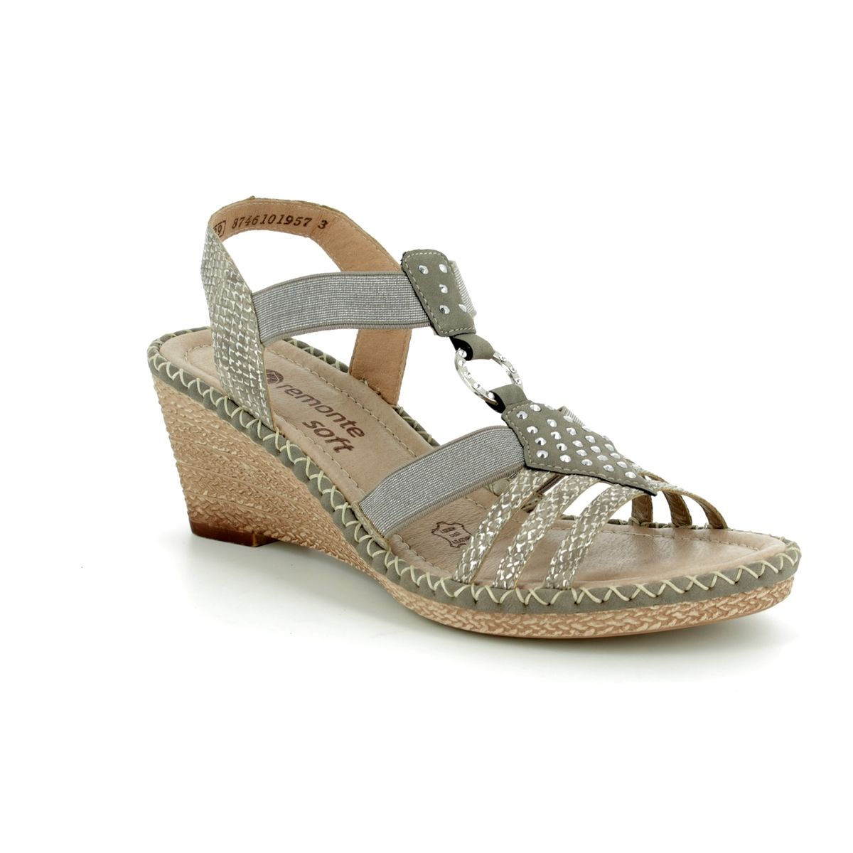 b0789b70a8a6 Remonte Wedge Sandals - Metallic - D6768-65 ROBCENE