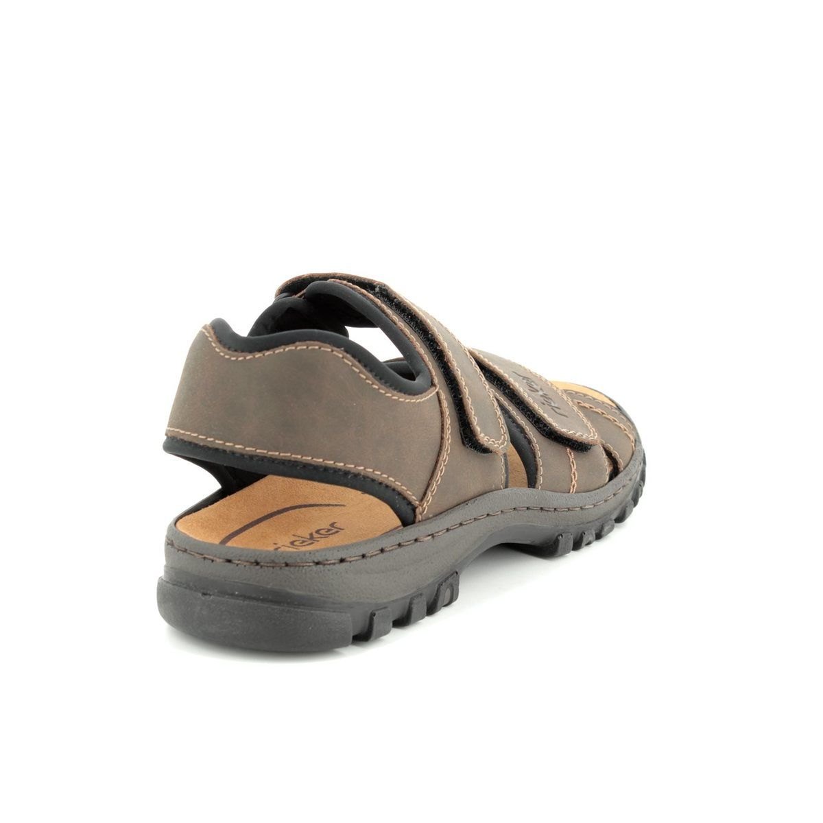25051 27 Mens Leather Touch Fasten Sports Sandals Brown