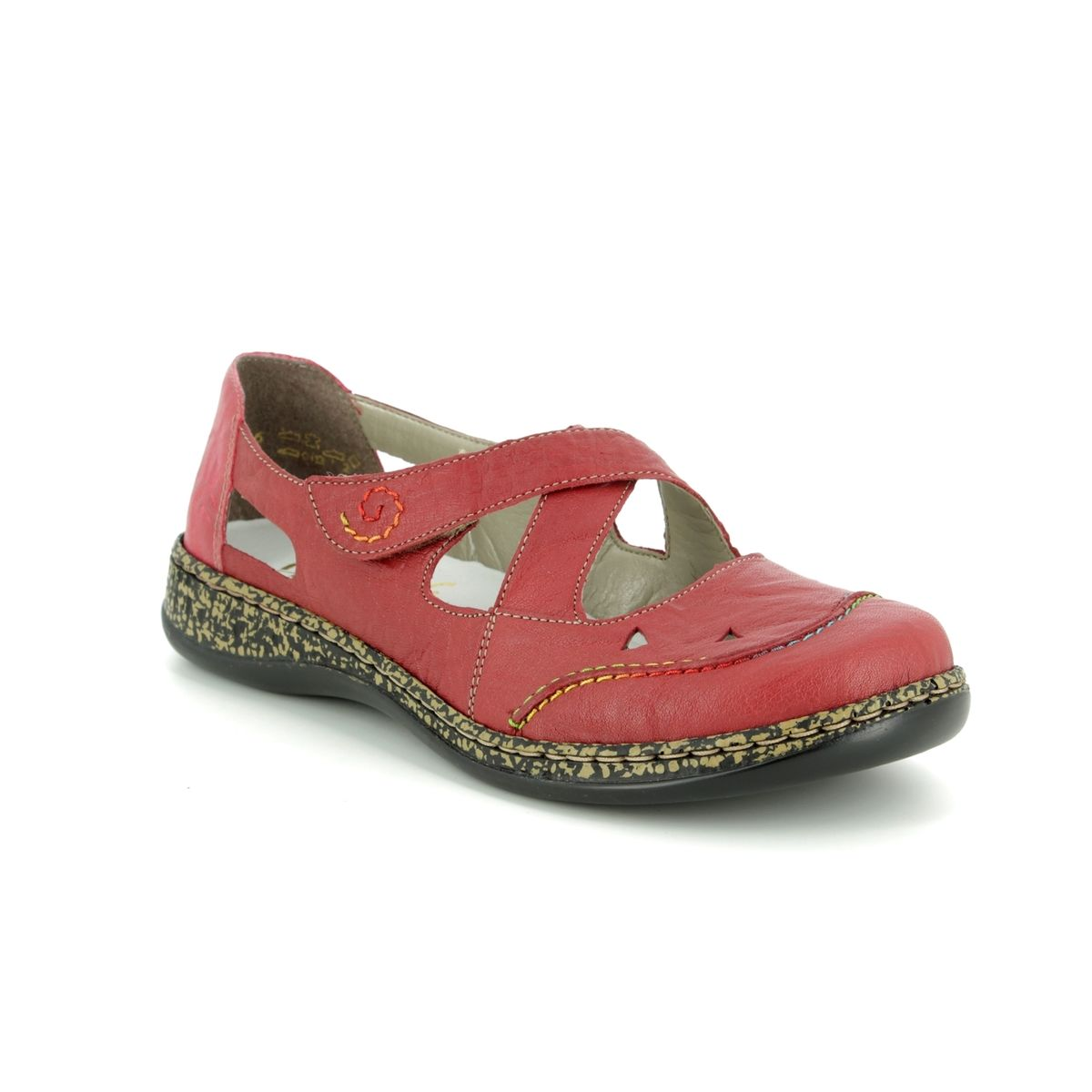 Rieker Womens 46335 Red Leather Cross Over Strap Fasten Antistress Summer Shoes