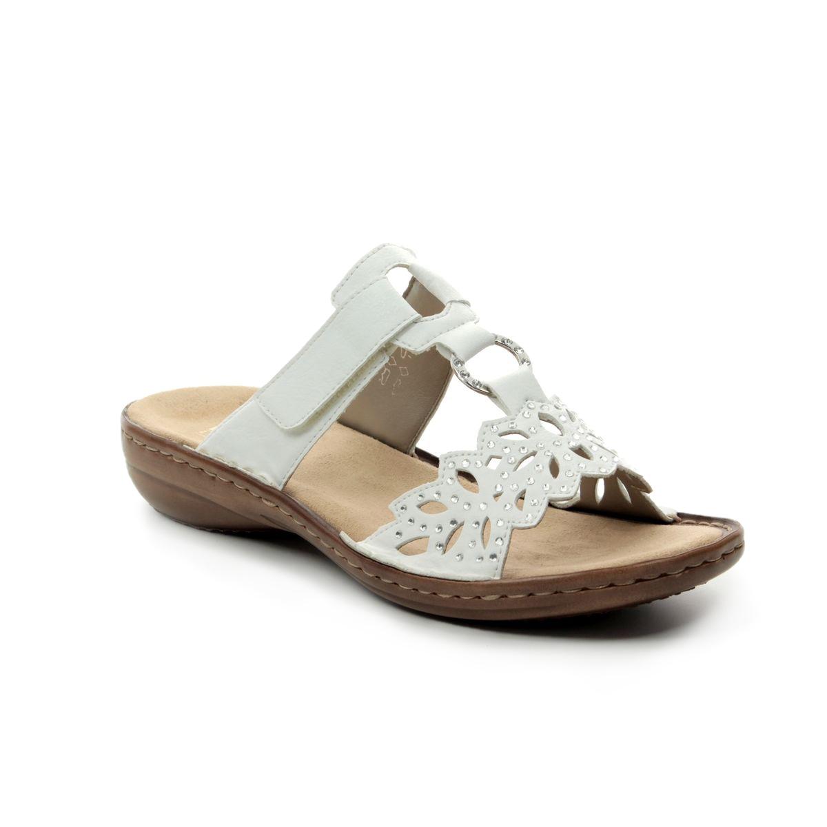 Rieker 608A6-80 White Slide Sandals