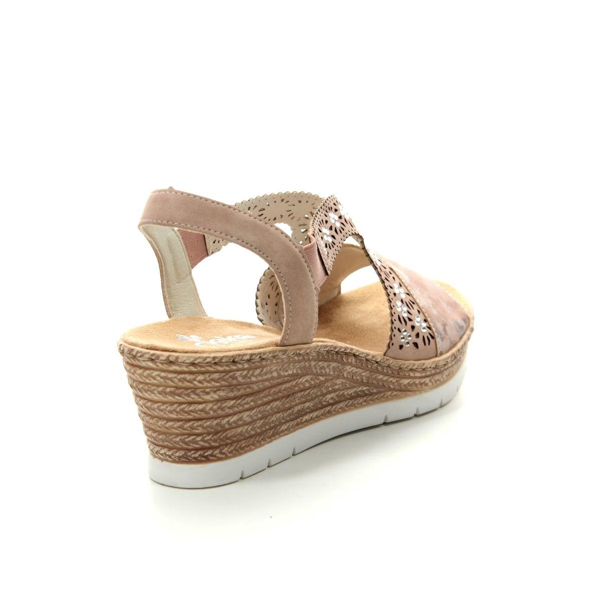 e3aaa7533d8e Rieker Wedge Sandals - ROSE - 61916-31 HYFAWN