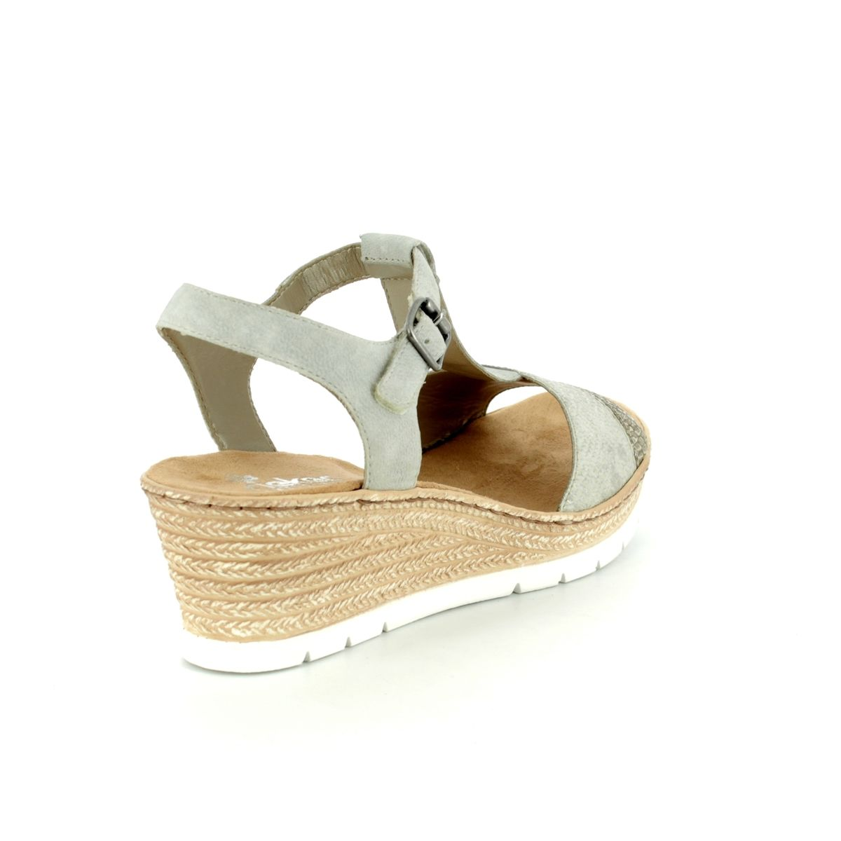 49f5c8e5cac Rieker Wedge Sandals - Silver - 61944-64 FAWNEE