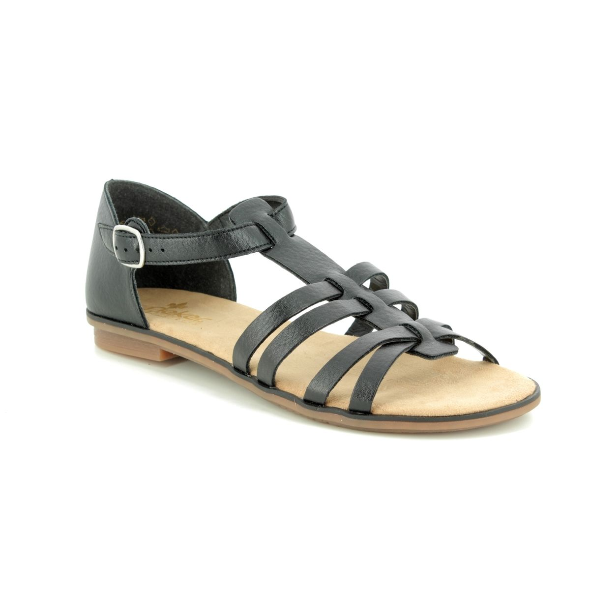 Rieker Flat Sandals - Black - 64288-01 YORBACK