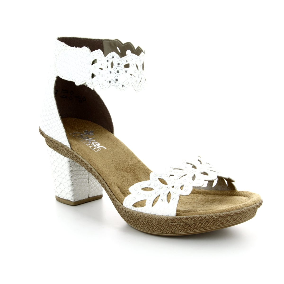 12d774bbf287b Rieker Heeled Sandals - White - 66555-80 ROBANKA