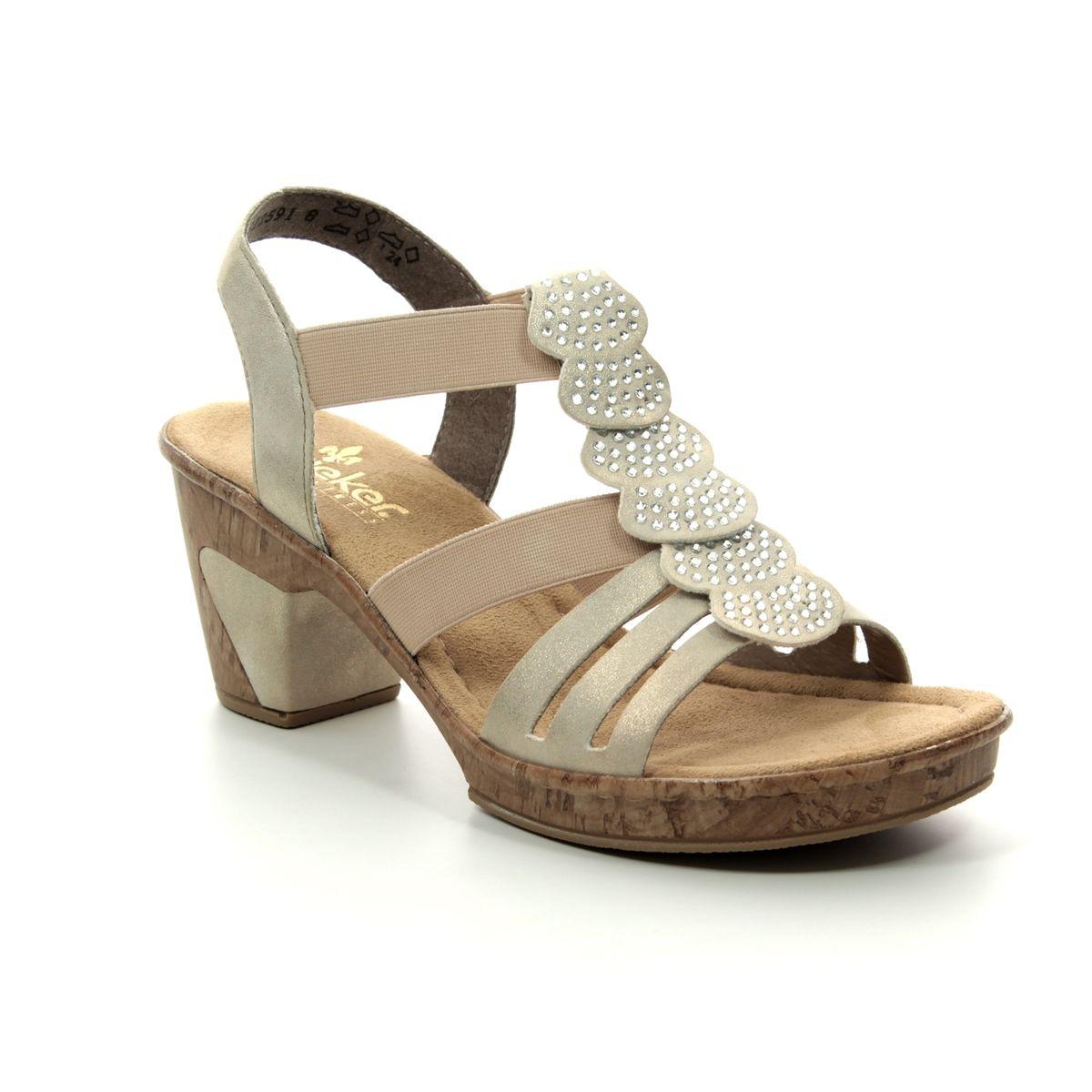 399d8f312b0f7 Rieker Heeled Sandals - Gold - 69702-60 ROBRUFFLE