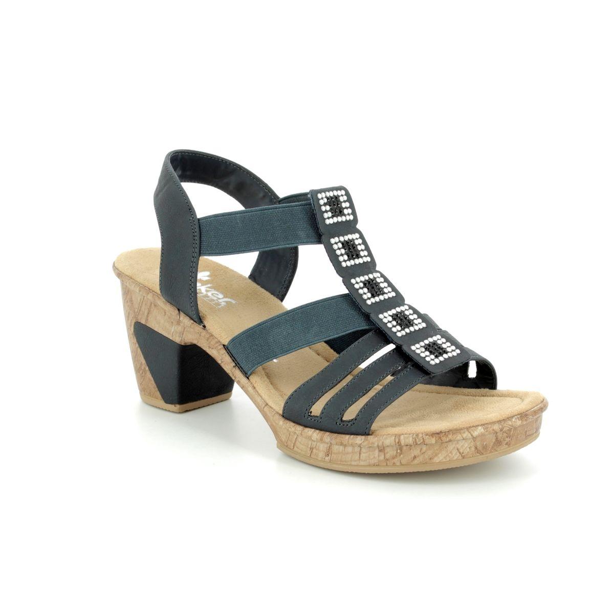 2e8f2eabad99d Rieker Heeled Sandals - Navy - 69761-14 ROBSQUARE
