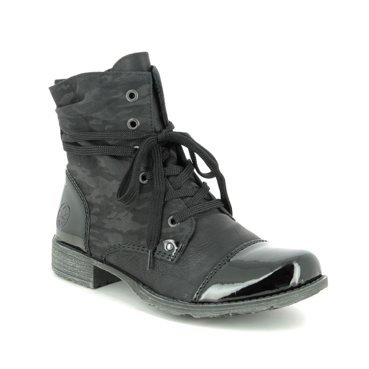 Rieker 70822-00 Black patent ankle boots