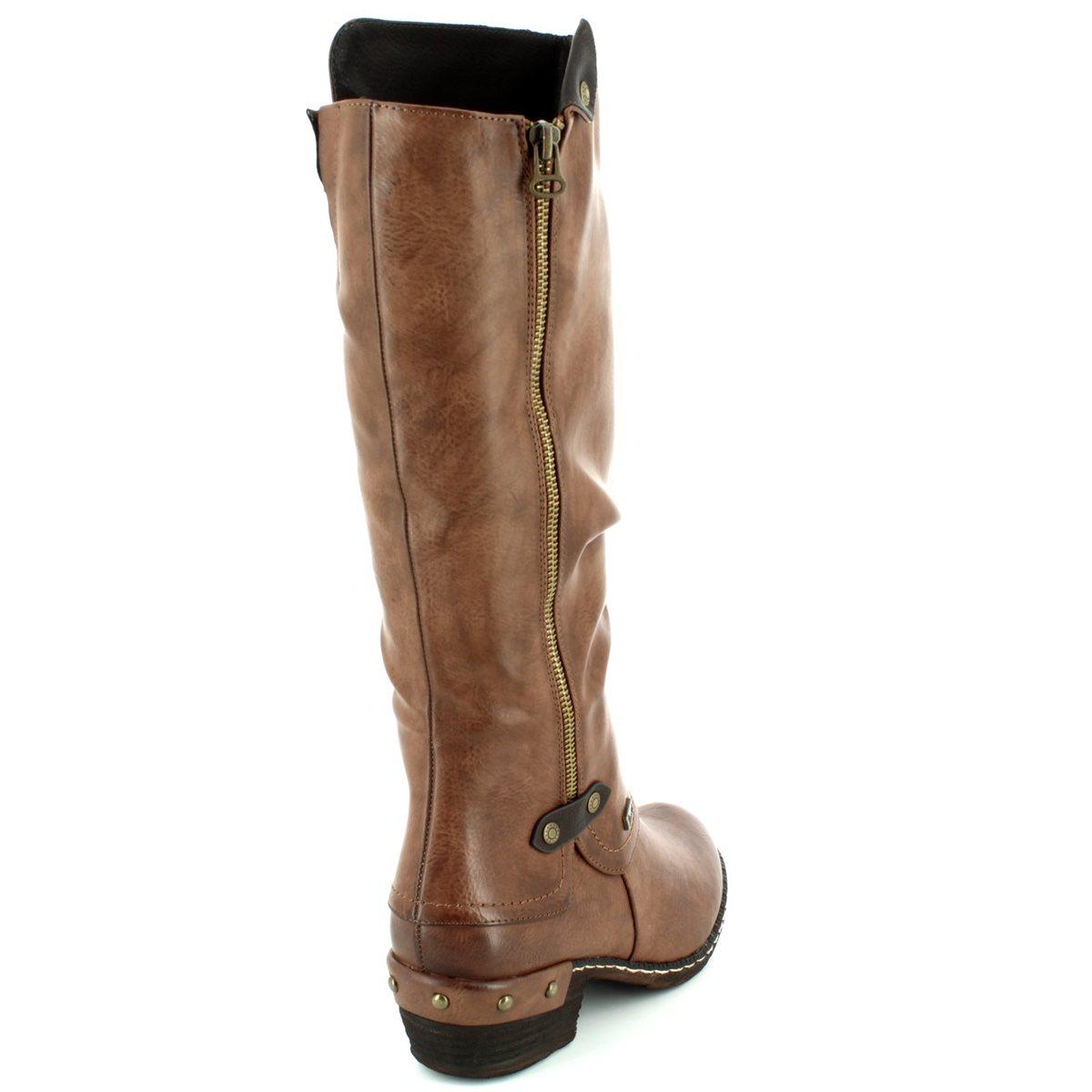 b8a5fd865d5 Rieker Knee-high Boots - Brown - 93655-26 BERNALO TEX