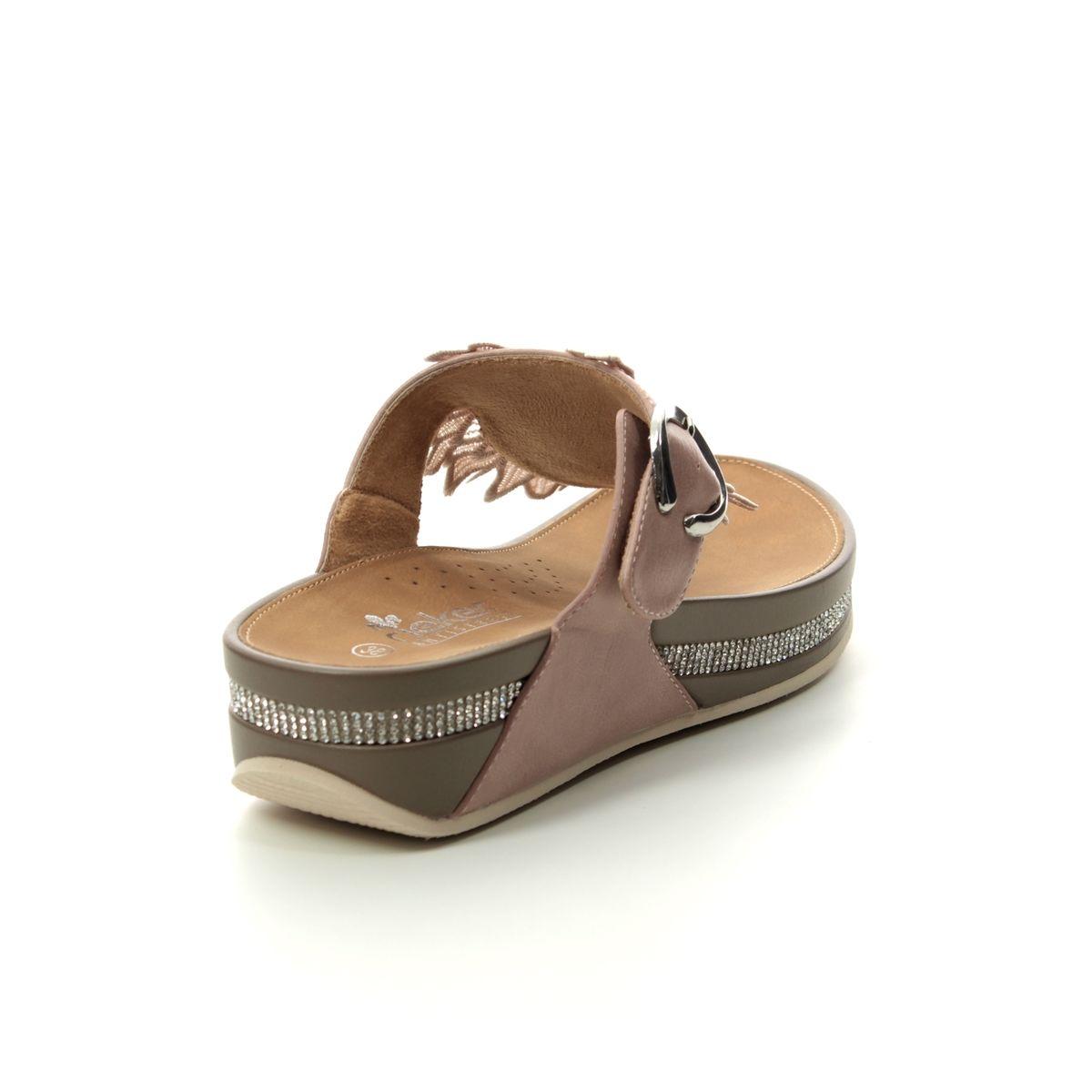 Rieker V1499 31 Pink Toe Post Sandals