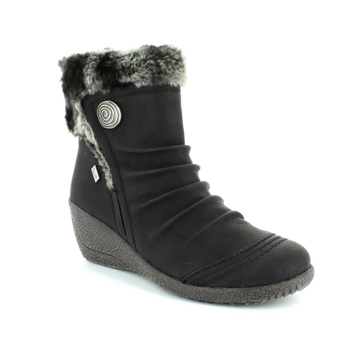 rieker y0363 01 black wedge boots