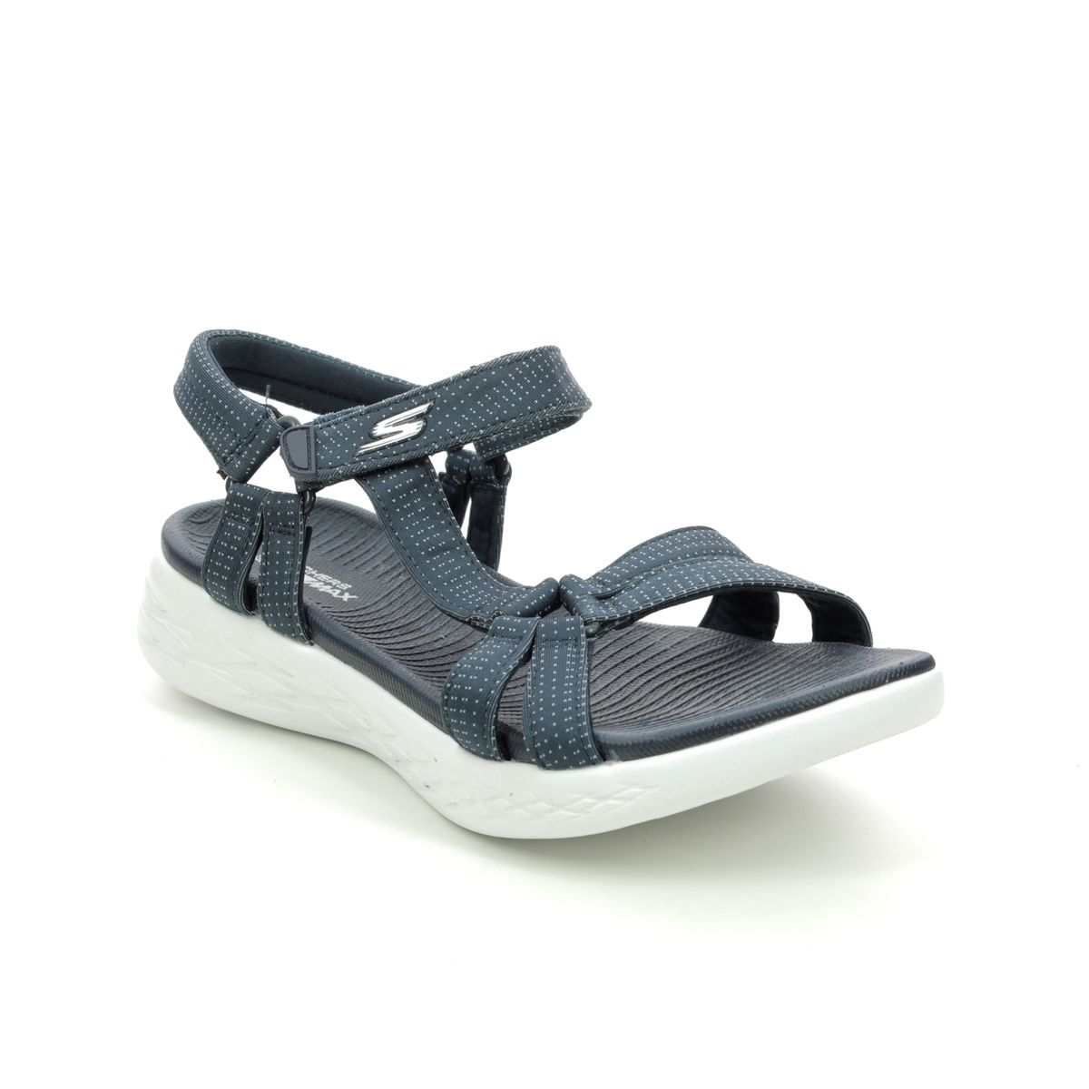 LADIES SKECHERS GO WALK BRILLIANCY NAVY ADJUSTABLE STRAP SANDALS 15316//NVY