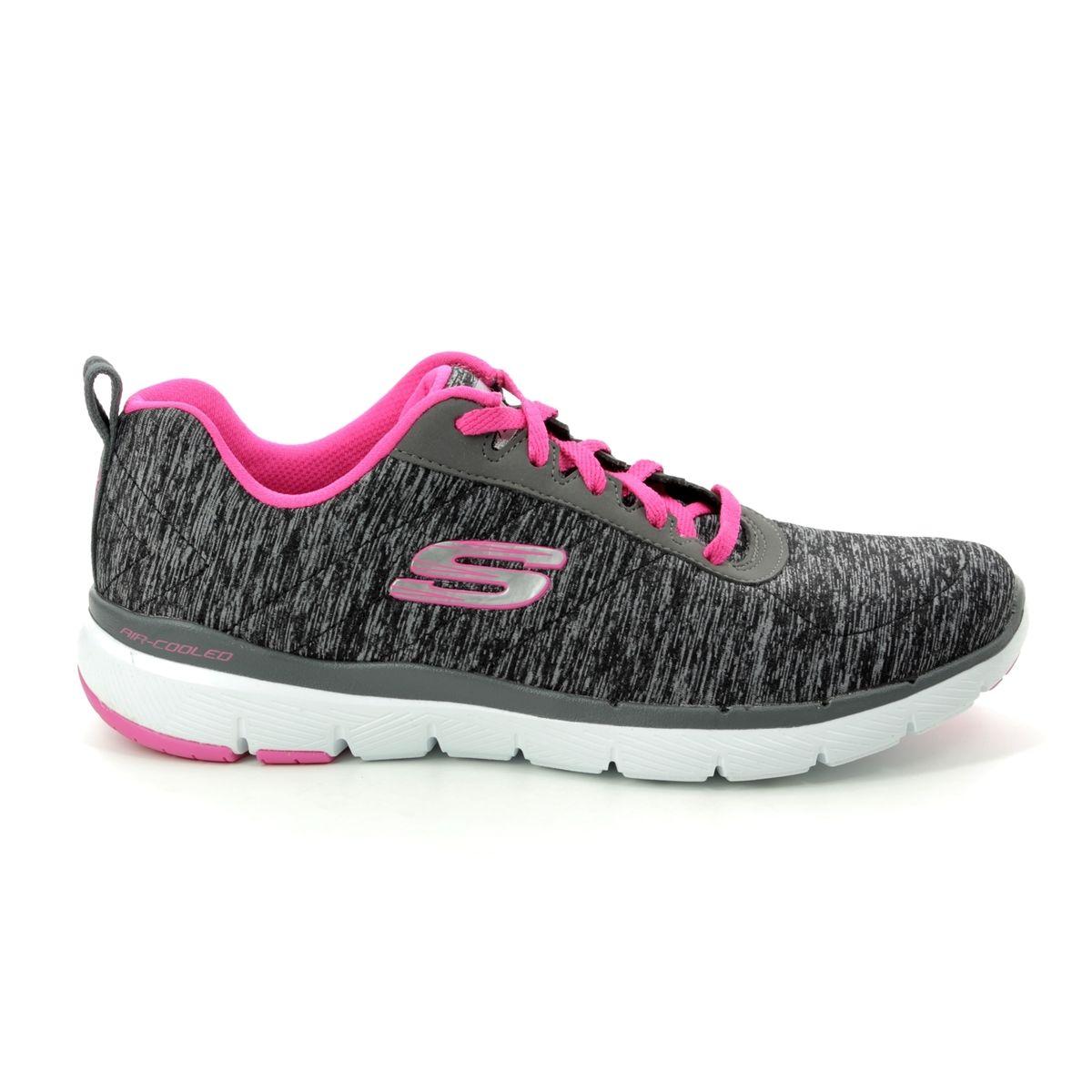 c2568ca243b8 Skechers Insiders Flex 13067 BKHP Black hot pink trainers