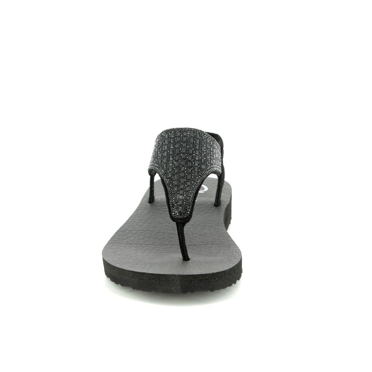 896431bf7e55 Skechers Meditation Rock Crown 31560 BBK Black Flat Sandals