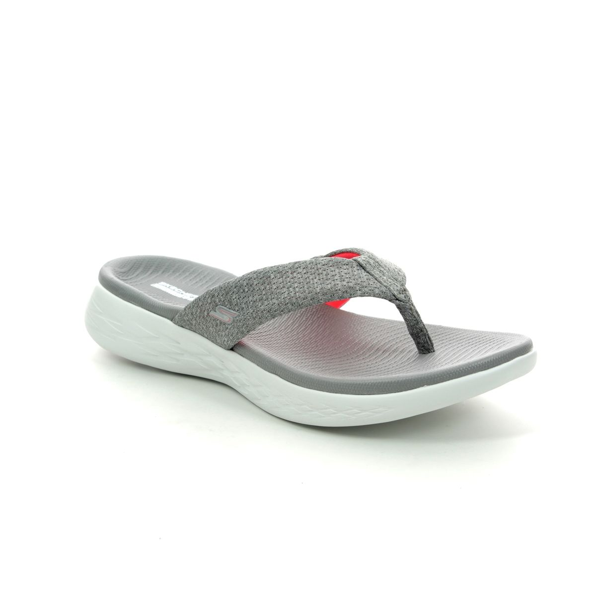 5e9ed311 Skechers Preferred 15304 GYPK Grey croc Toe Post Sandals
