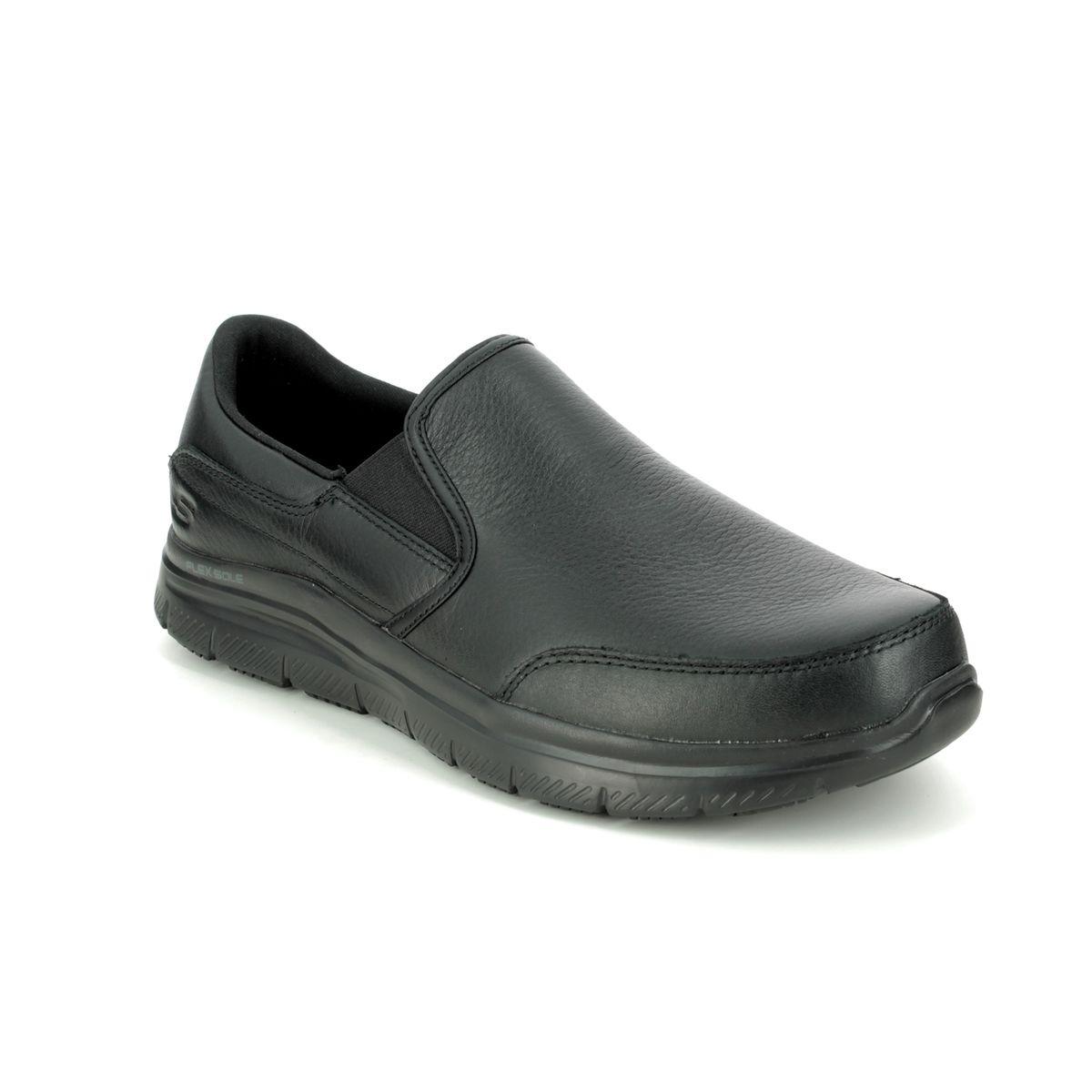 Seguro grua Brillante  Skechers Work Leather Slip Resistant 77071EC BLK Black Slip-on Shoes