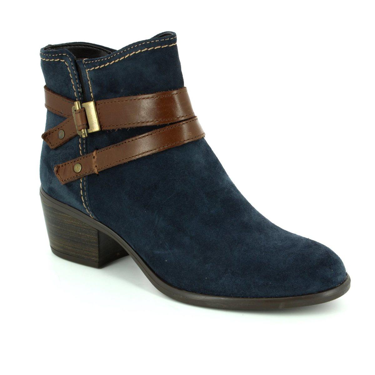 tamaris becka 72 25010 863 navy suede ankle boots. Black Bedroom Furniture Sets. Home Design Ideas
