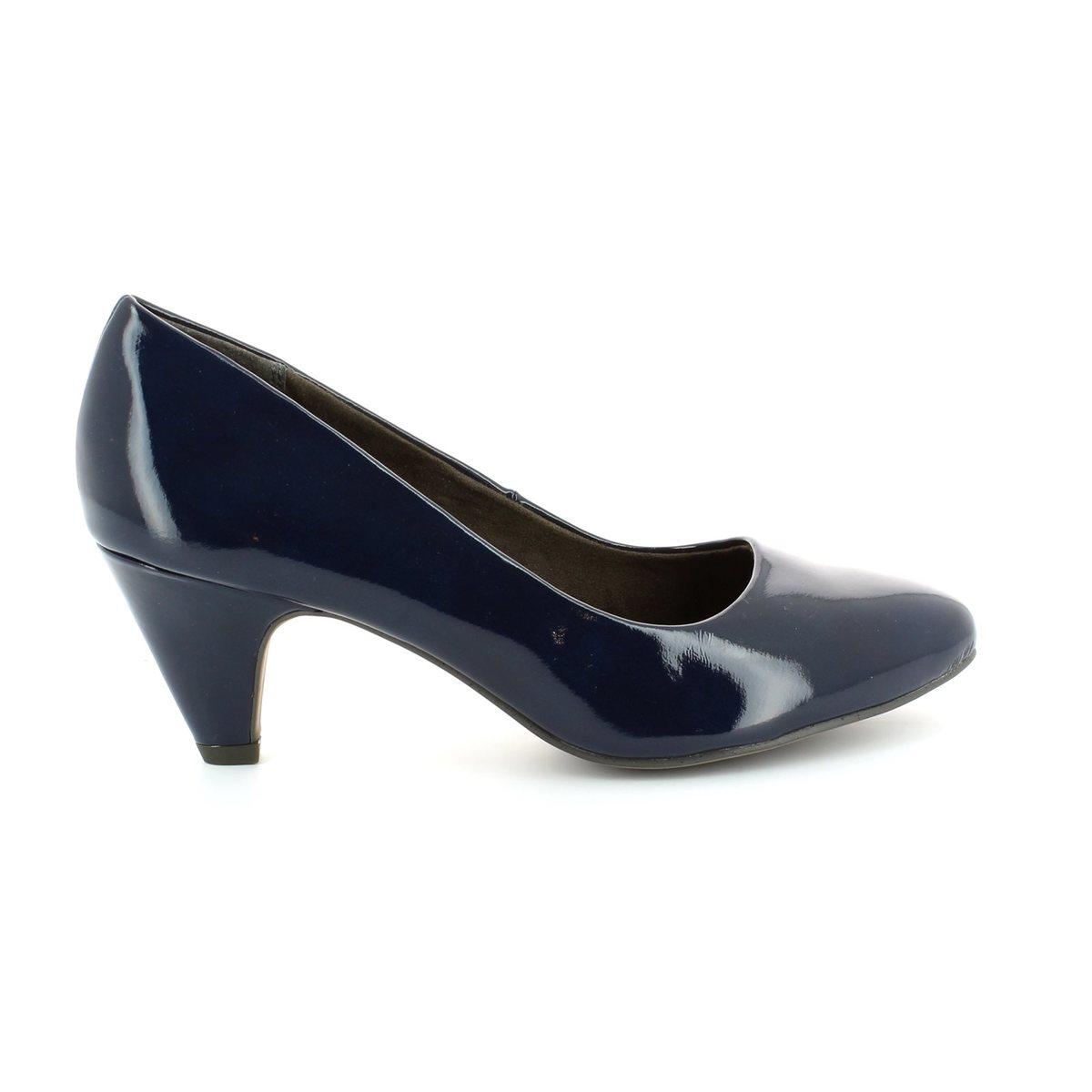 tamaris cressco 22416 826 navy patent high heeled shoes. Black Bedroom Furniture Sets. Home Design Ideas