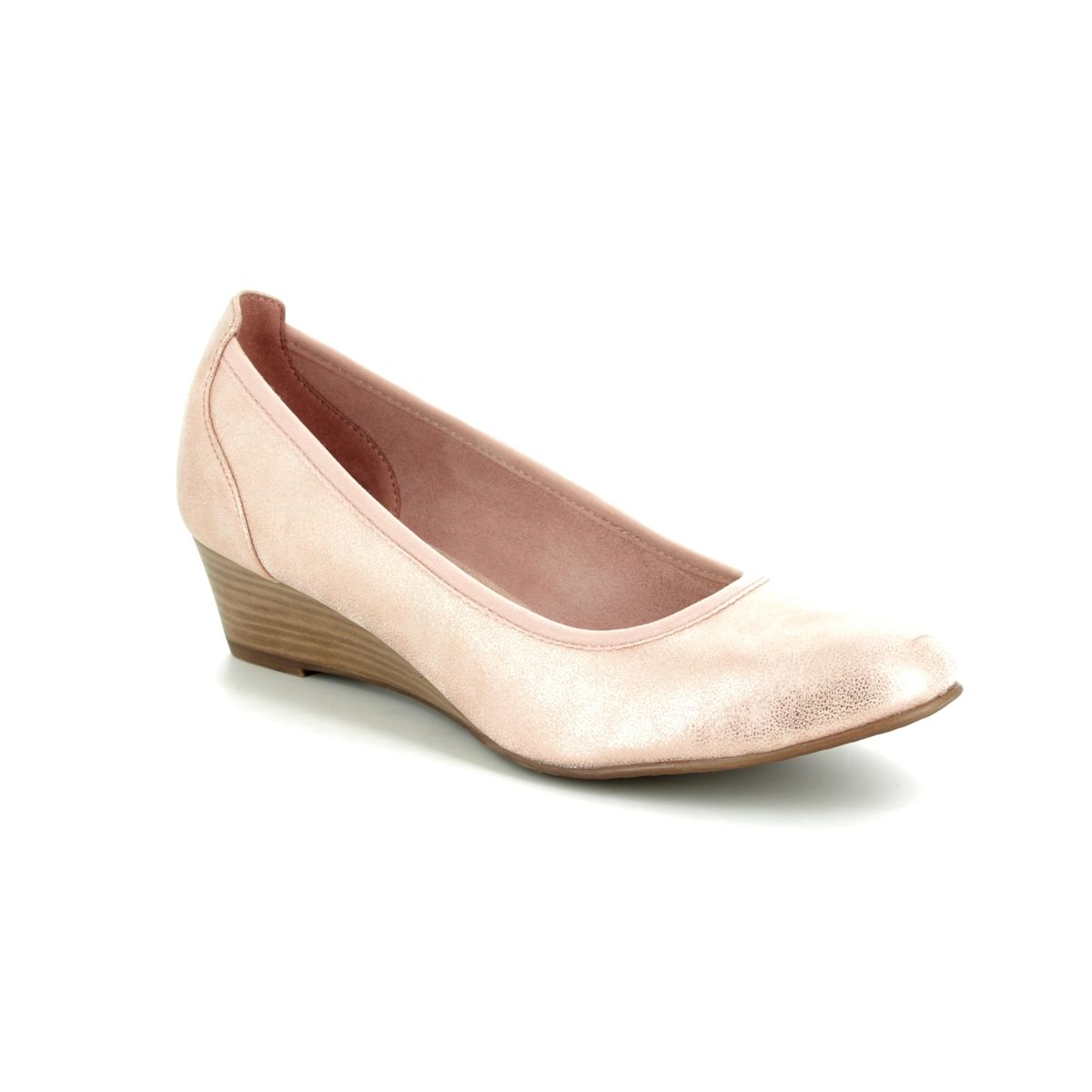Tamaris Wedge Sandals Women Rose Gold Shoes Latest Fashion