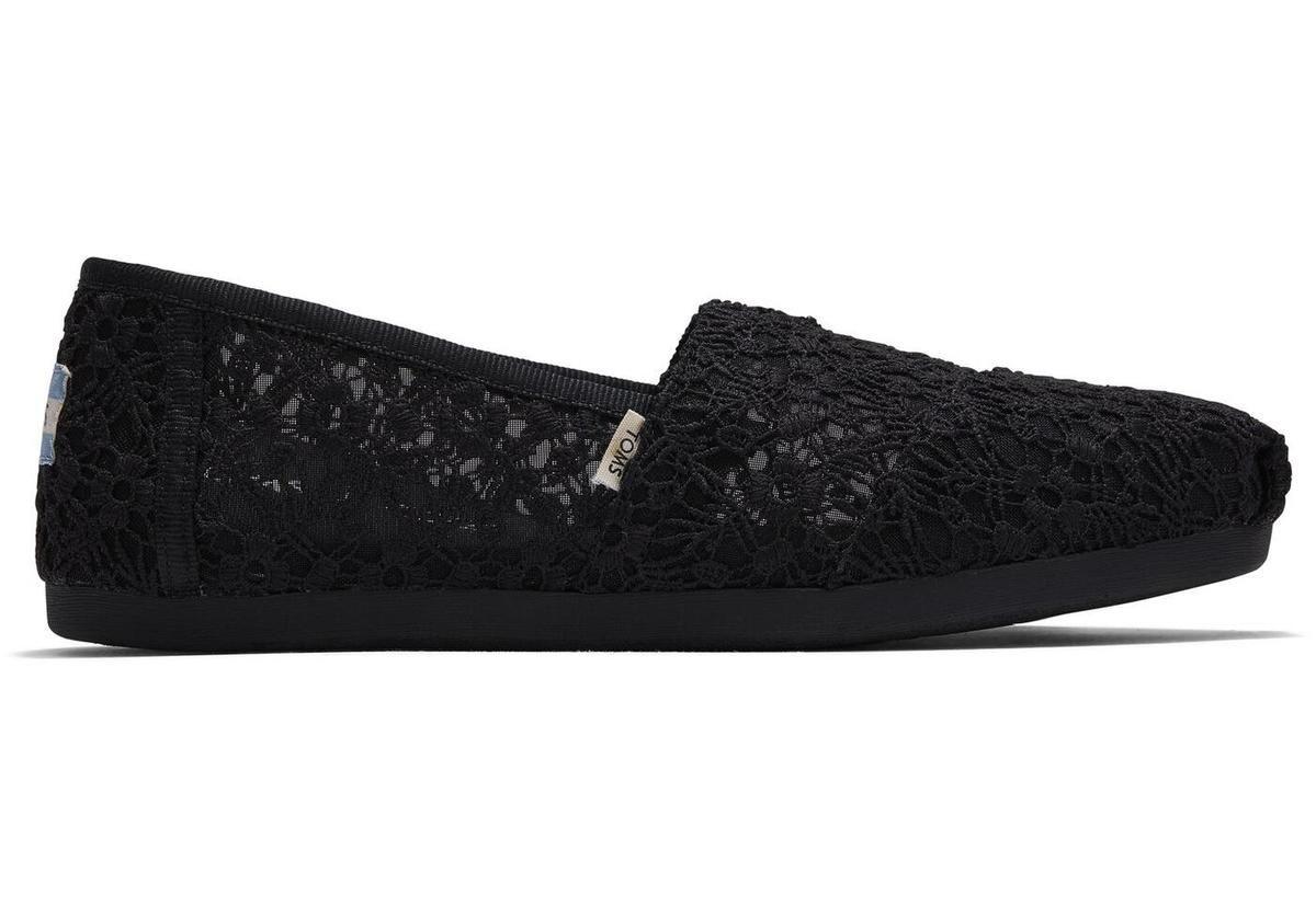 Details about  /Toms Classic Black Floral Lace Womens Espadrilles Shoes